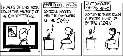 http://xkcd.com/932/: This comic is pointing out the difference between what an average citizen and computer experts hear when seeing a story like this. Some misunderstand the CIA website to be connected to its internal network, and thus conclude that hackers have breached their very secure systems. Computer experts, on the other hand, may compare a website to a company's poster being vandalized – the only damage done being cosmetic.